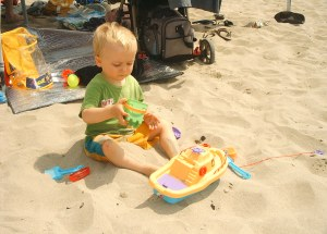 Jared plays in the sand
