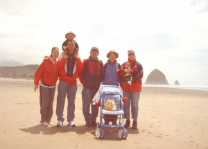 "At Cannon Beach in front of ""Haystack"" Rock"